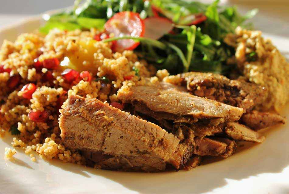 Moroccan Roasted Lamb with Pomegranate and Roasted Vegetable Couscous