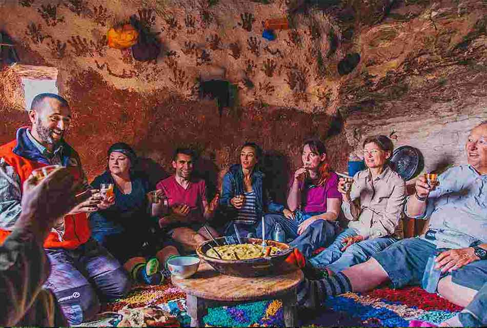 Sharing food with a Berber Family